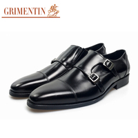 GRIMENTIN Mens Shoes Formal Italian Classic Monk Strap Social Shoes Genuine Leather Wedding Party Shoes