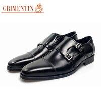 Grimentin мужские Обувь Формальные классический итальянский монах ремень социальных Обувь Свадебные туфли из натуральной кожи