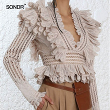 SONDR Lace Ruffle Shirt Blouse Female V Neck Hollow out Long Sleeve Sexy Blouses Tops 2019 Spring Fashion Clothes New