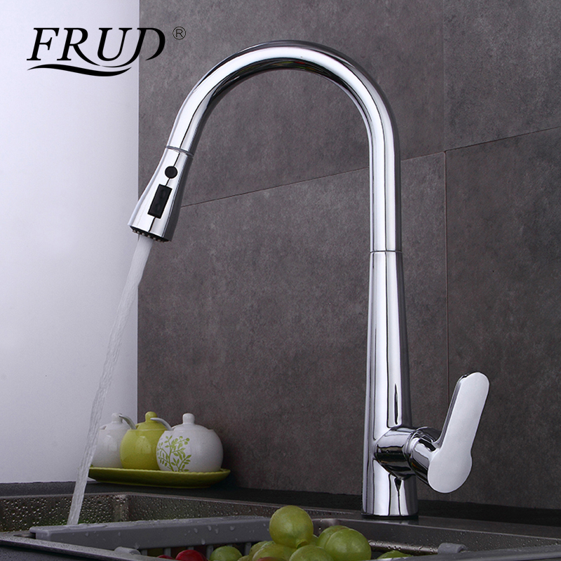 FRUD New Single Handle Kitchen Faucet Mixer Pull Out Kitchen Tap Single Hole Swivel 360 Degree Water Mixer Tap Mixer Taps Y40061 micoe pull style hot and cold water kitchen faucet mixer single handle single hole modern style chrome tap 360 swivel m hc103
