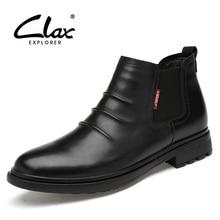 цена на CLAX Chelsea Boots Men Casual Leather Shoe Male Autumn Genuine Leather Winter Boot Men's Boot Slip on Fur Warm Snow Shoe