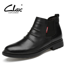 CLAX Chelsea Boots Men Casual Leather Shoe Male Autumn Genuine Leather Winter Boot Men's Boot Slip on Fur Warm Snow Shoe