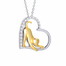 Leisure 100%guaranteed s925 sterling silver mosaic zircon heart with dog pendant&necklaces cute creative jewelry for women N0008