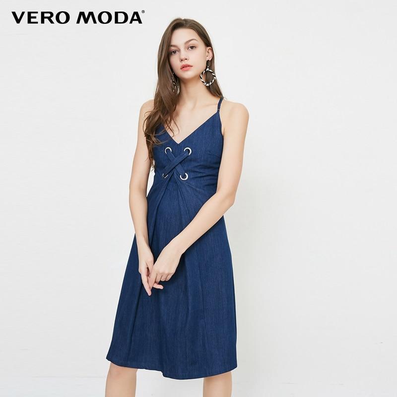 Vero moda sem encosto com decote em v sexy camisola cinta decoração A-line vestido   318242511
