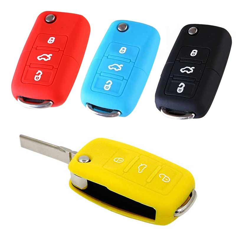 New Car Auto Silicone Flip Folding Key Cover 3 Buttons Remote Control Protector Case Fob For VW CSL2018
