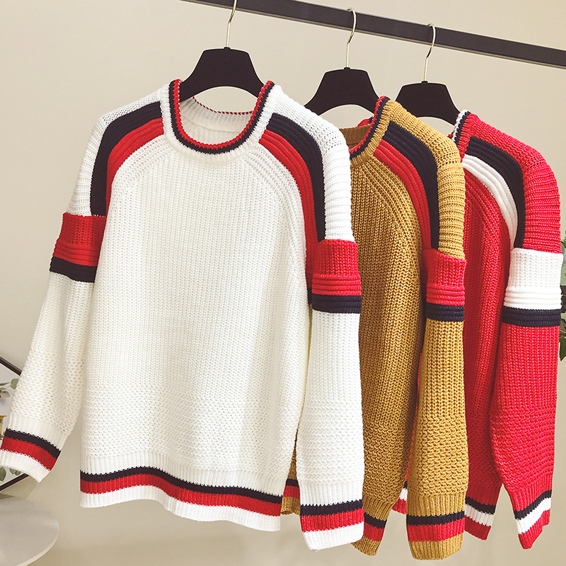 NiceMix 2019 Autumn Winter Women Stripe O-neck Long Sleeve Knitting Pullover Knitwear Sweatters Femme Fashion Basic Jumper
