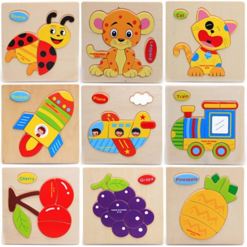 Монтессори материалы деревянные пазлы игрушки мультфильм животных фрукты перевозки дерево модель головоломки Best Toy Подарки для детей
