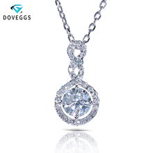 DovEggs Solid 14K 585 White Gold Center 1ct carat 6.5mm F Color Moissanite Diamond Pendant Necklace For Women with Silver Chain