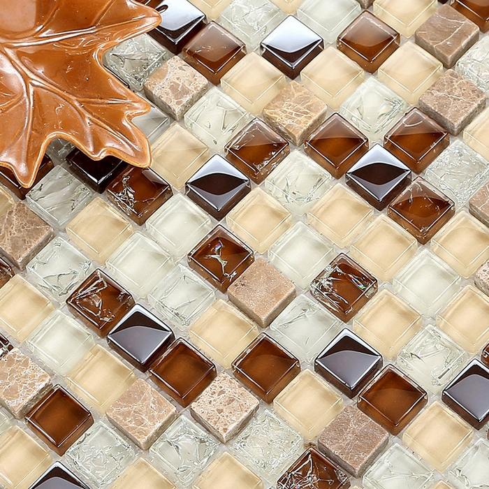 white mixed brown glass & stone mosaic tiles for kitchen