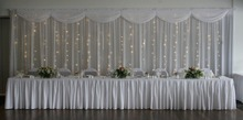 3M*6M White Wedding backdrop with beautiful swags With LED lights Starlight backdrop