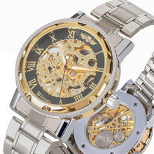 цена на Men Watch Luxury Stainless Steel Skeleton Mechanical Hand Wind Watch Practical Luminous Hands Wristwatch Hollow-out reloj hombre