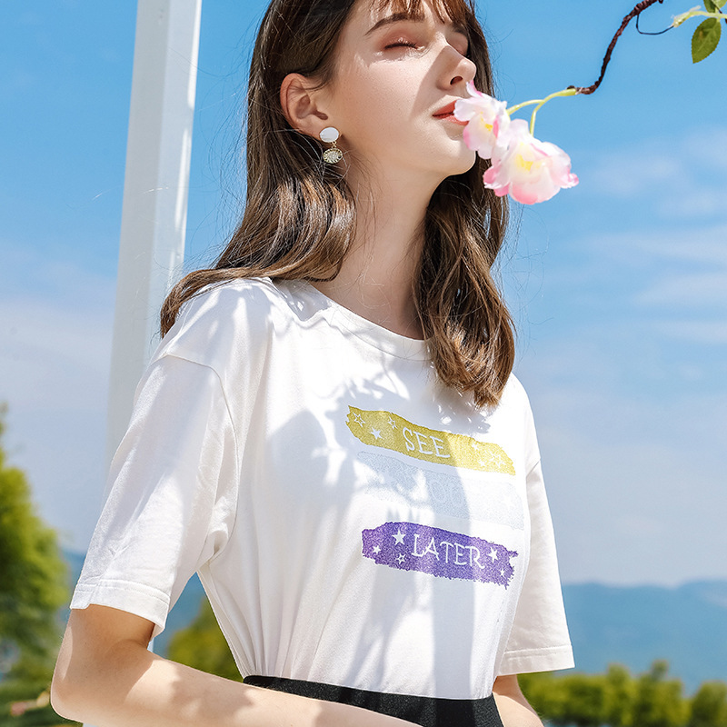 AcFirst Summer New Women Tops Fashion White Women T shirts Printed O Neck Short Cotton T Shirt Casual Shirts Female Sexy Tees in T Shirts from Women 39 s Clothing