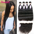Peruvian Straight Hair With Closure 4 Pcs Peruvian Virgin Hair With Frontal Closure Ear To Ear Lace Frontal Closure With Bundles