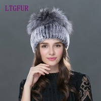 LTGFUR 2017 new women fur cap Winter fur hat for women real rex rabbit fur hat with fox fur knitted beanies