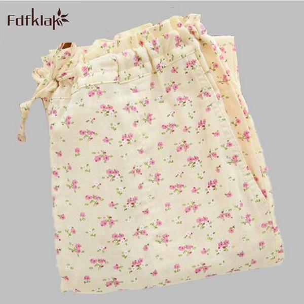 2016 Nueva Otoño Invierno Dulce Impreso Floral de Algodón Duermen Pantalones Caseros Sueltos Pantalones de Salón Pantalones de Pijama Mujeres E0491