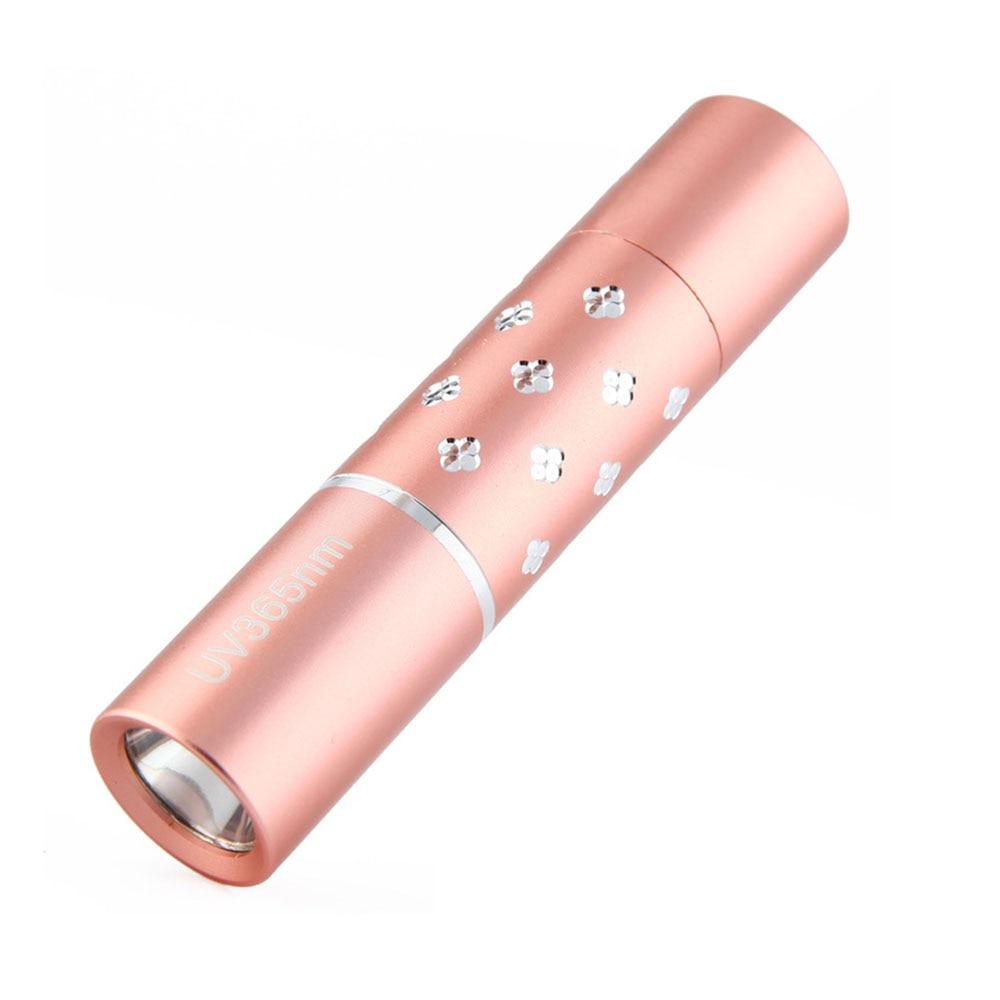 365nm UV Light Mini Flashlight Jade Cosmetic Fluorescence Detection Black Light Pen Light Small Ultraviolet Handy Torch Lampe