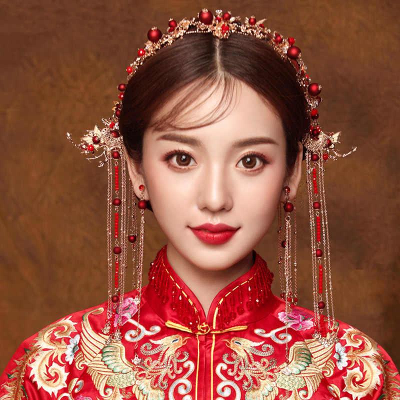 Chinois cheveux accessoires ensembles épingle à cheveux bâton coiffure épingle rouge mariée cheveux bijoux traditionnel épingle à cheveux casque bandeau