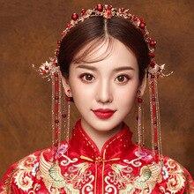 จีนชุดอุปกรณ์เสริมผม Hairpin ผม Headdress สีแดงเจ้าสาวเครื่องประดับแบบดั้งเดิม Hairpin Headpiece Headband