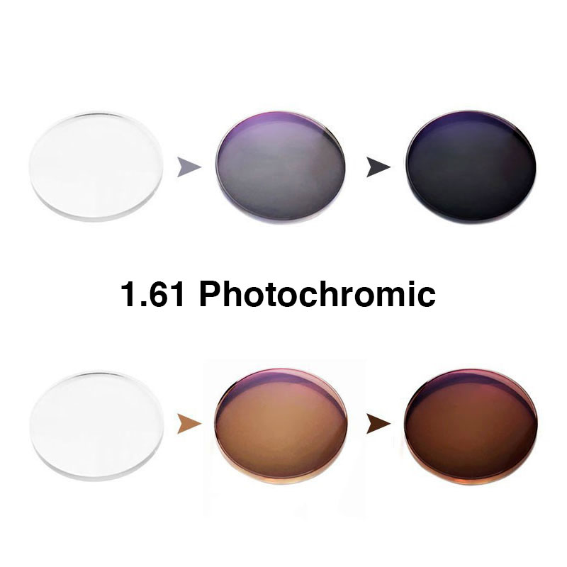 1 61 Photochromic Single Vision Prescription Optical Spectacles Lenses with Fast Color Change Performance