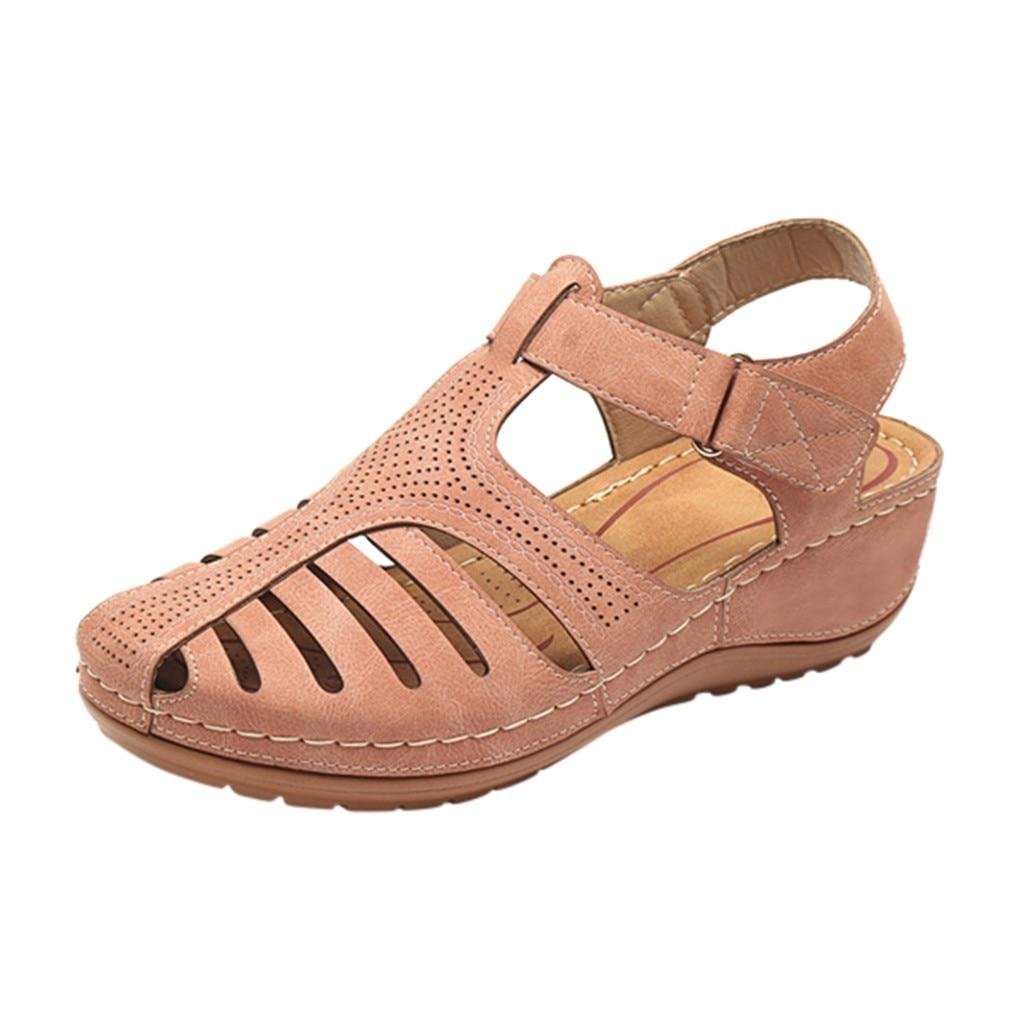 Women's Sandals Summer Ladies Girls Comfortable Ankle Hollow Round Toe Sandals Female Soft Beach Sole Shoes Plus Size C40#