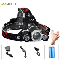 ZPAA 12000lm High Power Head Lamp Led Headlamp With Batteries Alu Alloy Lantern On The Head