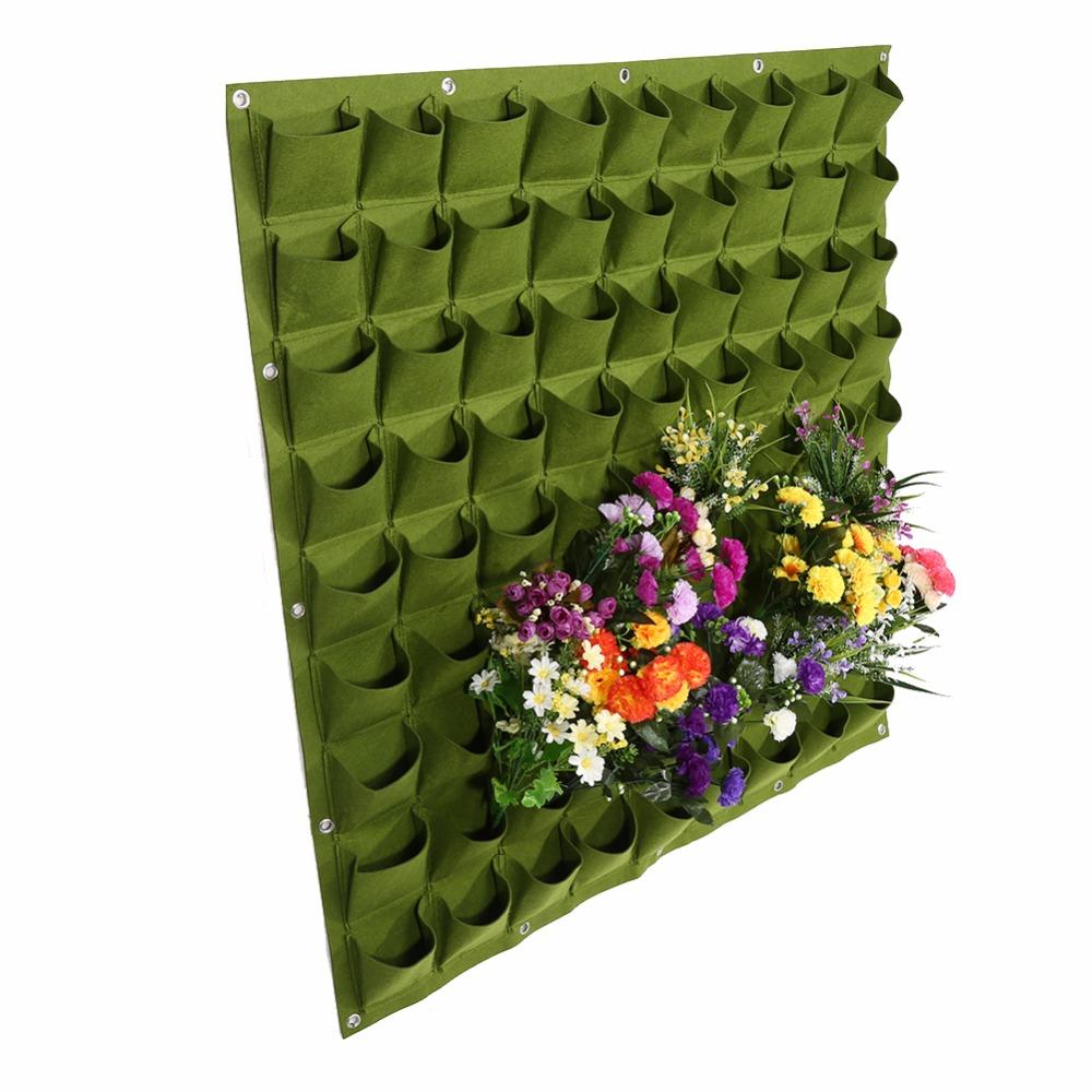 81 poches intérieur extérieur mur suspendus planteur vertical feutre jardin des plantes poussent récipient sacs mur