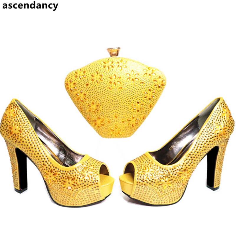 Italian Women Shoes and Bag Set Yellow Color Matching