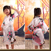 Peacock Kids Robe Satin Children Kimono Robes Bridesmaid Flower Girl Dress Silk children's bathrobe Nightgown Kimono robe 010613(China)
