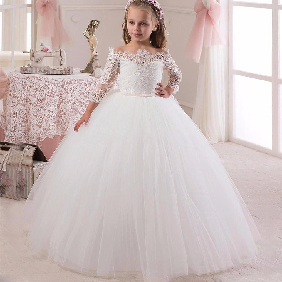 New Arrival Princess White Lace Flower Girls Dress Long Sleeve Custom 2016 China Made Girls Formal Holly Communion Dress Party