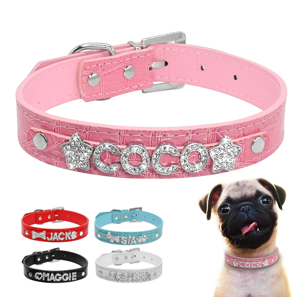 Personalized Rhinestone Dog Collars Leather Customized Pet Puppy Cat Collar For Small Medium Dogs Free Name Charms XS S M L