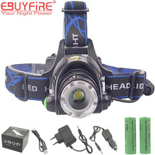 EBUYFIRE A9 LED Headlamp ZOOM 2000LM Waterproof 18650 Rechargeable LED Head Lights Lamp