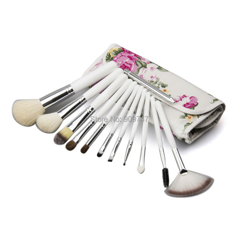 Professional 12 Pcs white Cosmetic Makeup Brush Brushes Set Kit Tool Super Soft Pouch Bag Case  Free Shipping free shipping durable 32pcs soft makeup brushes professional cosmetic make up brush set