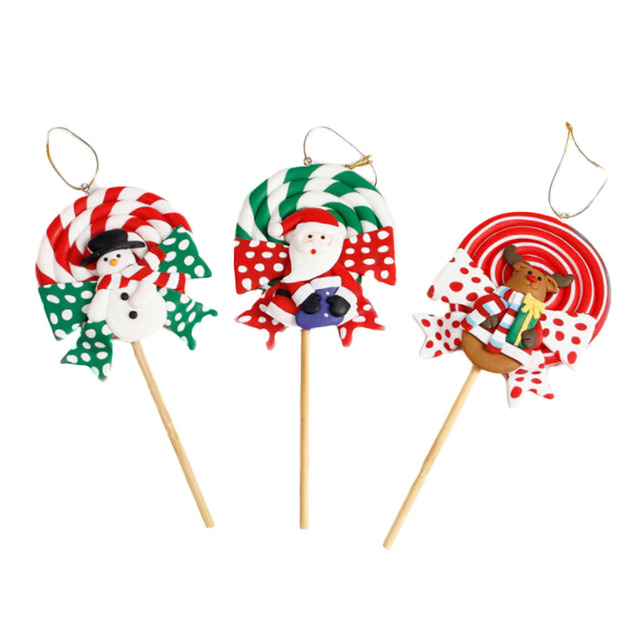 christmas landscape candy soft pottery lollipop christmas decorations for home gift for kids christmas landscape decoration - Lollipop Christmas Decorations