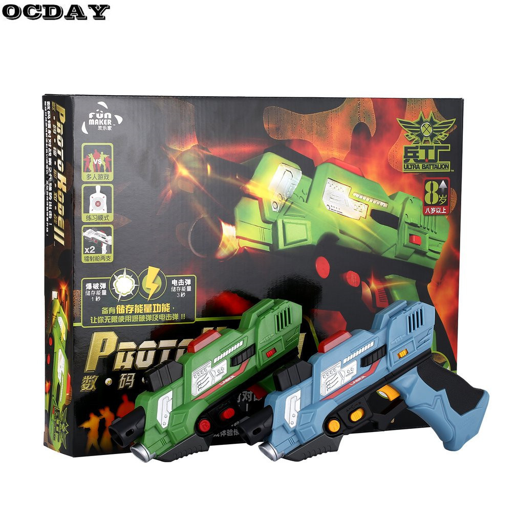 2Pcs Digital Electric Guns Toy Laser Tag With Flash Light Sounds Effect Live CS Battle Shooting Game New Year Toys for Children slw 8095 2 5 led screen carnival duck home shooting game set w music authentic sounds red