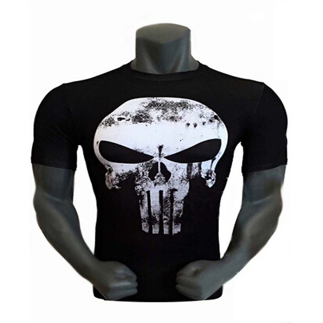 4bfa6fff1d9c Cool Style THE PUNISHER Skull T Shirt The Punisher Black Blue Slim Print  O-neck Short Sleeve T-shirt Men Top Tees For men Summer