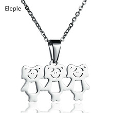 Eleple Stainless Steel Cartoon Hollow Out Three Little Bears Necklaces for Women Gifts Collarbone Chain Jewelry Wholesale S-N473