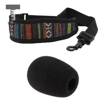 Tooyful, esponja de micrófono, cubierta de micrófono parabrisas + cinturón de cuello de saxofón de algodón elástico