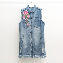 2017 Spring Autumn New Vintage Flowers Embroidered Long Denim Vest Coat font b Women b font