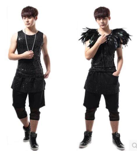 2017 New Of The Gothic Style Fashion Mens Clothing Singer Dj Ds Rivet Stitching Fake Two Piece 7 Haroun Pants Costumes