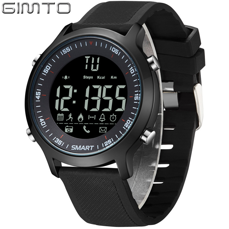 mens outdoor sports wristwatches Multifunction Smart digital man watches GIMTO brand waterproof Alarm Chronograph Call Reminder