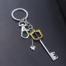 The Game Kingdom Hearts Gold Color Keys Keychain For Women Men Metal Alloy Charms Car Keyrings Fashion Jewelry A506(China)