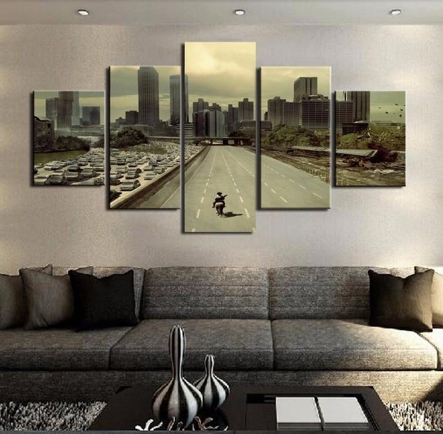 モジュラー写真hdプリントキャンバスフレーム絵画ホームウォールアート写真の装飾5パネル映画ウォーキングデッド風景ポスターpengda