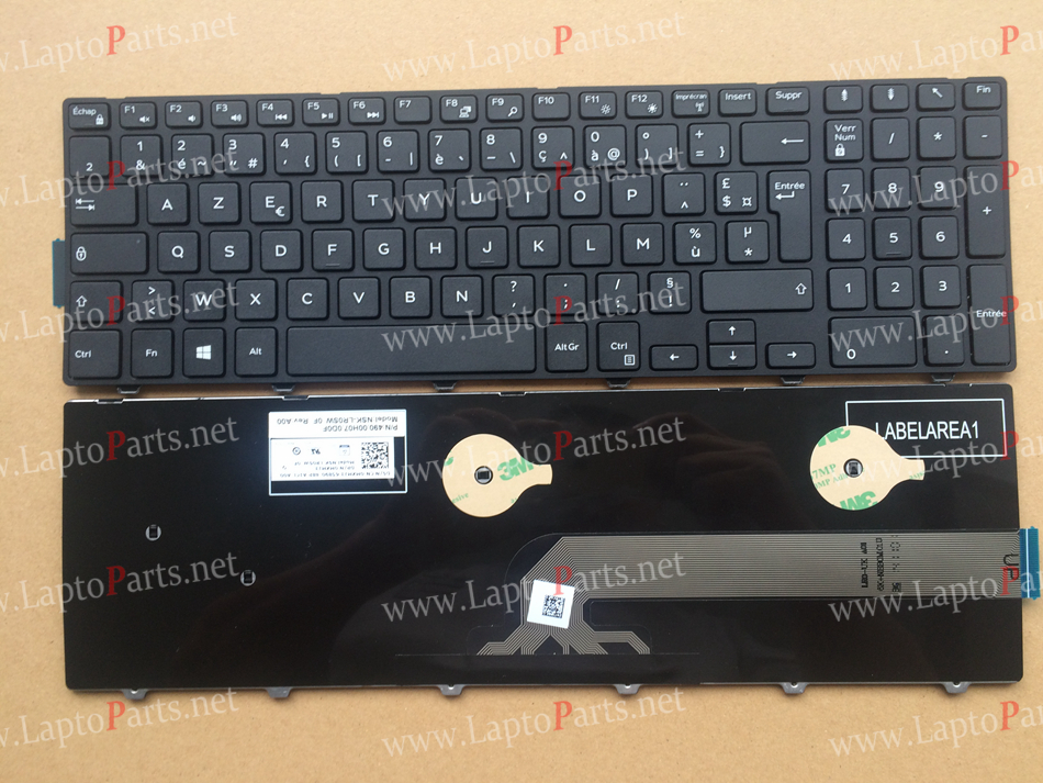 French AZERTY Layout for Dell Inspiron 15-3000 3541 3542 3543 5542 5545 5547 15-5547 15-5000 15-5545 17-5000 Black keyboard