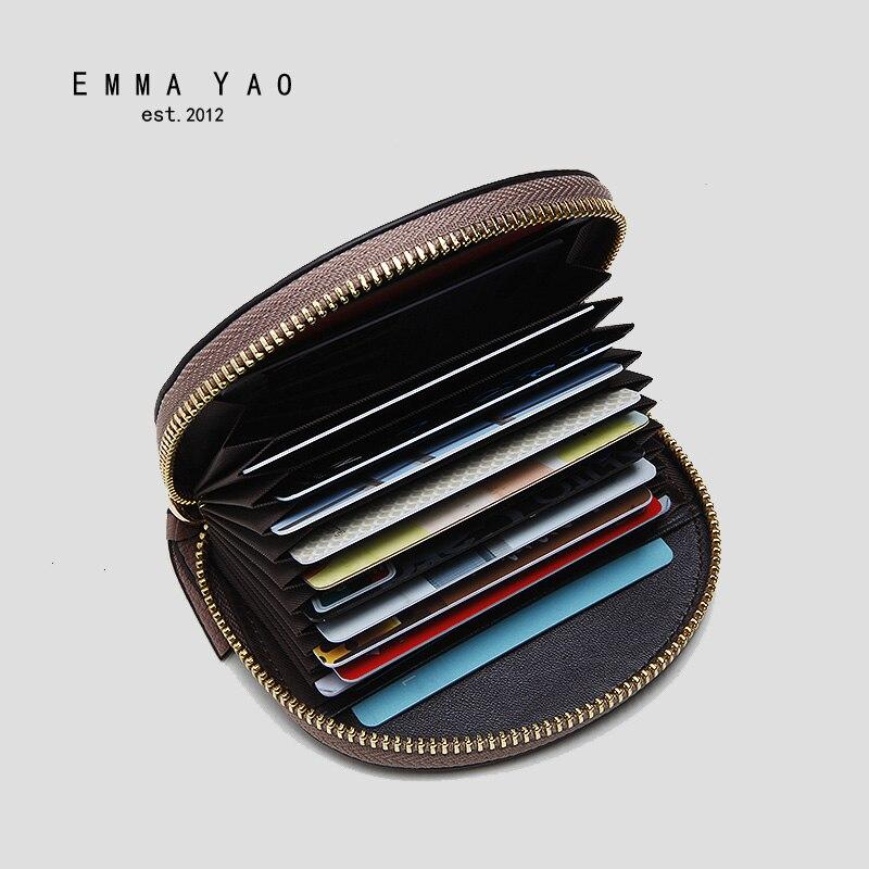 Emma YAO womens leather coin purses fashion small zipper purse mini purse wallet