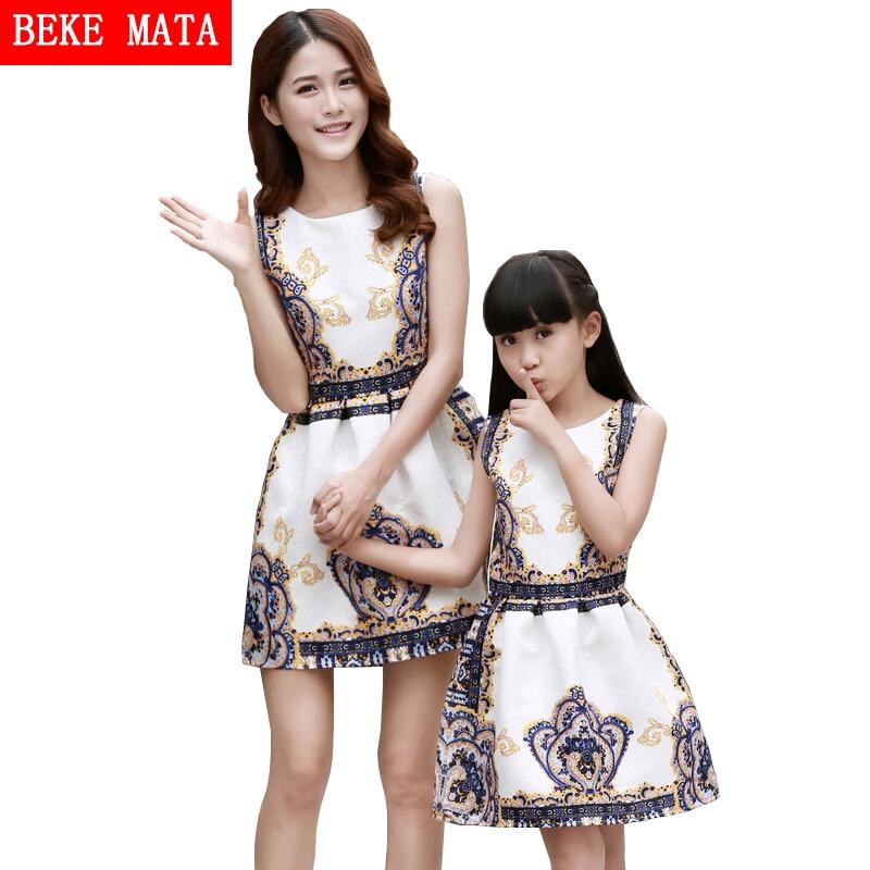 Europa-Amerikaanse stijl Moeder dochter jurken 2016 Zomer Print Familie bijpassende kleding Moeder dochter jurk Meisje prinses jurk