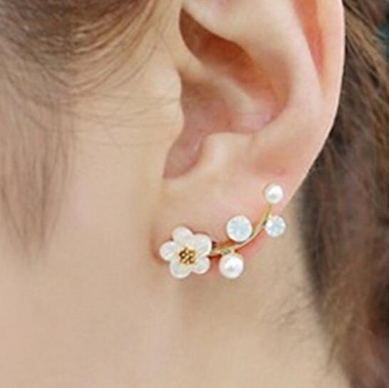 Imitation pearl earrings Triangle Flower Crystal Earrings For Women Party Gift Fashion Jewelry Double Face Earrings Best Friend