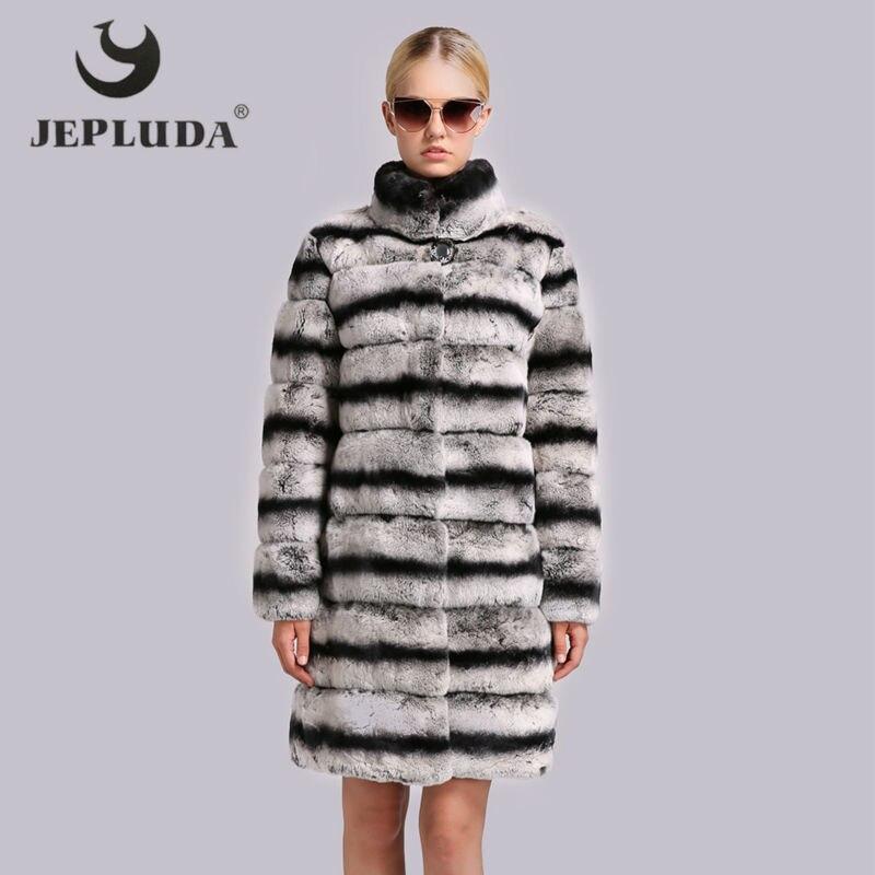 Mode Longues Rex Lapin De Fourrure D'hiver Femmes Mandarin Épais Col Réel Jepluda Manches bleu Marron Veste Nouvelle Chaud Manteau gris 5x8Etqpw