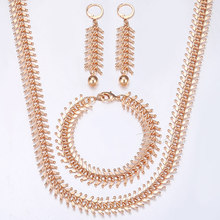585 Rose Gold Jewelry Set For Women Centipede Link Chain Necklace Bracelet Earrings Woman Gifts 2018 Dropshipping 10/14mm HCSM01(China)