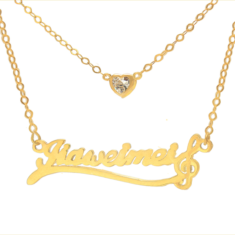 Wholesale 925 Silver Name Necklace Personalized Stack Chain Music ...