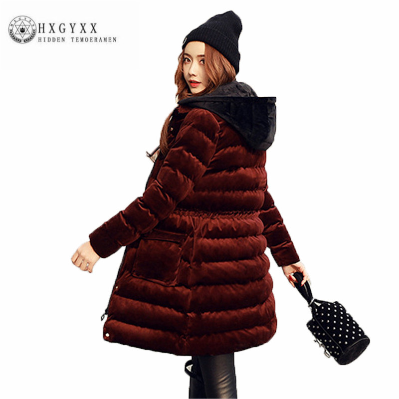 New 2017 Winter Women Down Cotton Coat High quality Long Thick Parka Female Hooded pure color Fashion Velvet Cotton Jacket ZX284 2017 new arrival women winter jacket hot sale character thick slim x long hooded parka cotton filler coat zl291